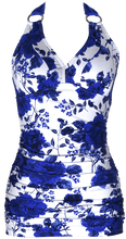 V-Ruched Halter - Royal Rose Garden - FINAL SALE - DM Fashion