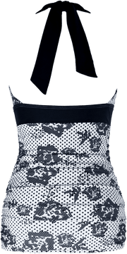 V-Ruched Halter - Black Flower Dots - FINAL SALE - DM Fashion