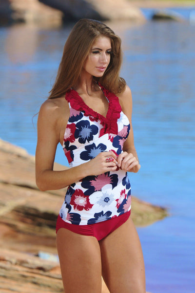 Ruffle V-Halter Nautical Gingham Flower - FINAL SALE - DM Fashion
