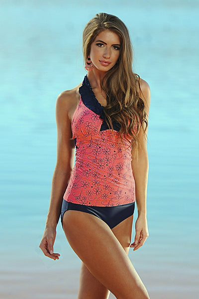 Ruffle V-Halter Sunrise Coral Retro Flowers - FINAL SALE - DM Fashion