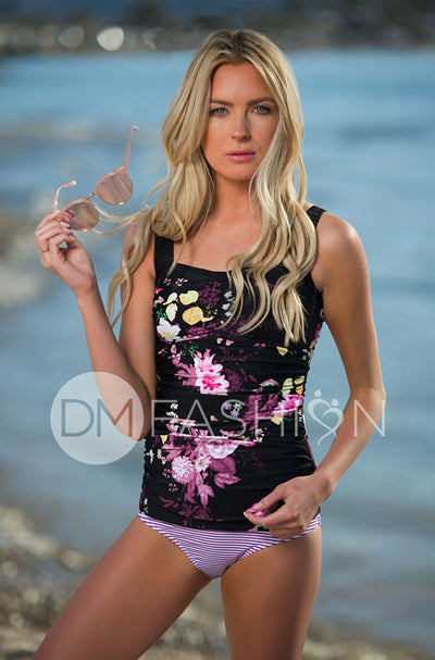 Sweetheart Ruched Tankini - Black Floral - DM Fashion