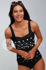 Sweetheart Ruched Tankini Top - Black Polka Dots