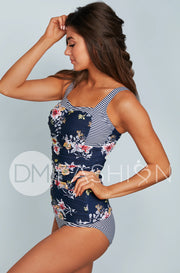 Sweetheart Ruched Tankini Top - Navy Lilly Stripes