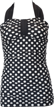 Bandeau Halter - Black Cream Retro Dots - FINAL SALE - DM Fashion