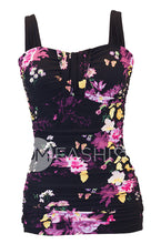 Ruched Bandeau Tankini Top - Black Floral - RESTOCKED