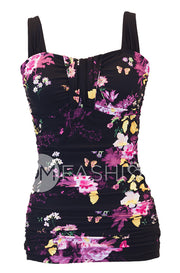 Ruched Bandeau Tankini Top - Black Floral - FINAL SALE