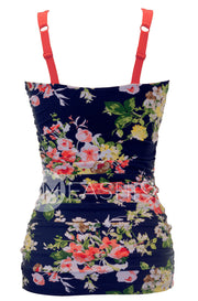 Ruched Bandeau Tankini Top - Navy Floral - FINAL SALE