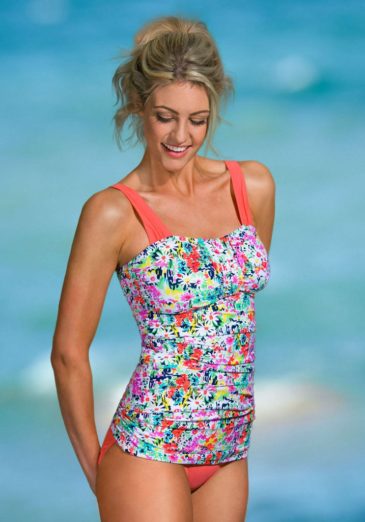 Ruched Bandeau - Sunrise Coral Garden Flowers