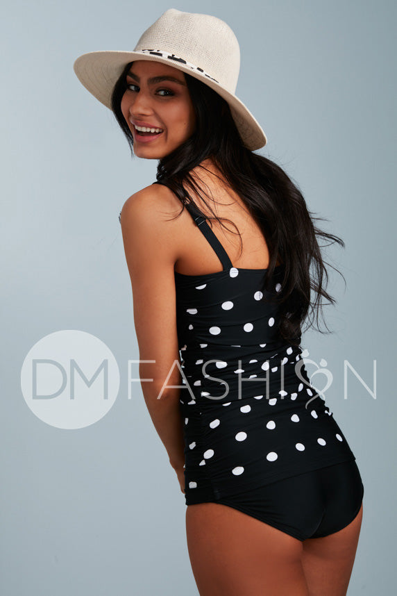 Ruched Bandeau Tankini Top - Black Polka Dot