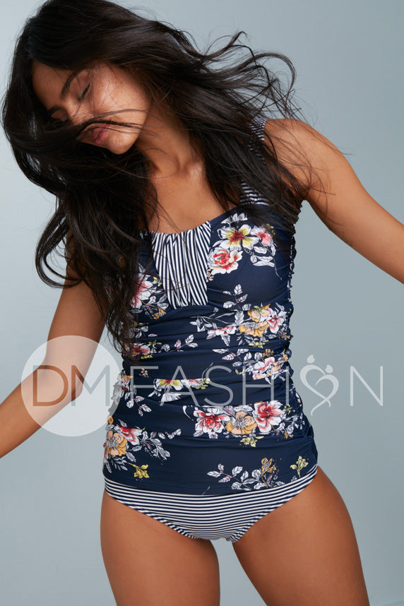 Ruched Bandeau Tankini Top - Navy Lilly Stripes
