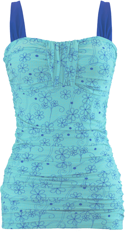 Ruched Bandeau - Aqua Retro Flowers - FINAL SALE - DM Fashion
