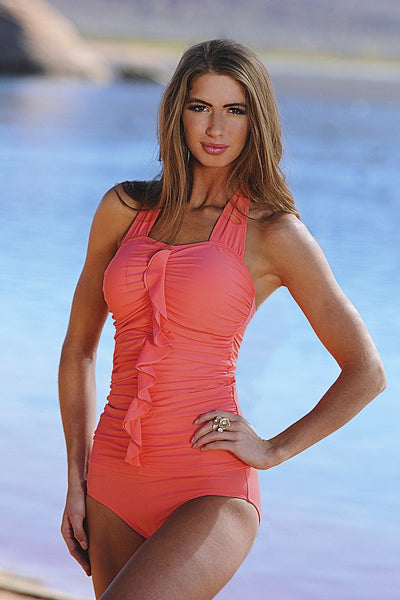 Flounce Halter - Sunrise Coral - FINAL SALE - DM Fashion