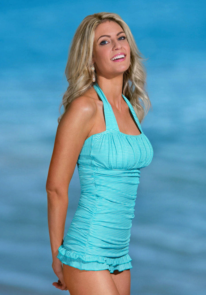 Open Back Ruched Halter - Aqua Stripe