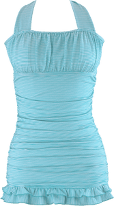 Open Back Ruched Halter - Aqua Stripe - FINAL SALE - DM Fashion