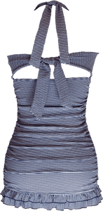 Open Back Ruched Halter - Nautical Blue Stripe - DM Fashion