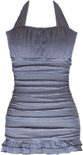 Open Back Ruched Halter - Nautical Blue Stripe - FINAL SALE - DM Fashion