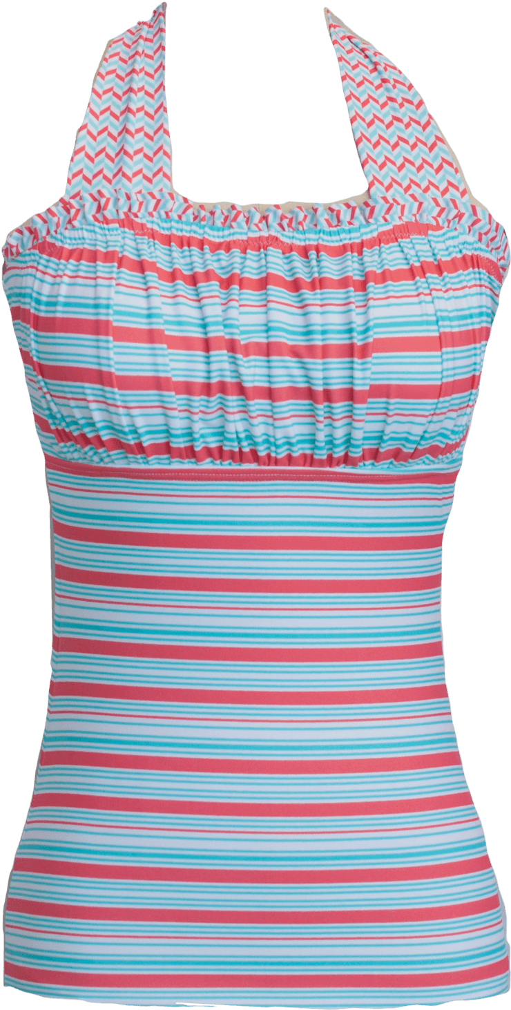 Ruched Square Halter - Aqua Stripe Chevron - FINAL SALE - DM Fashion