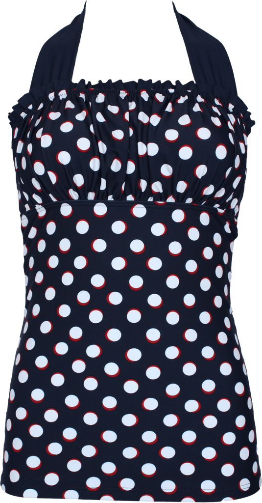 Ruffle Square Halter - Nautical Blue Red Dots