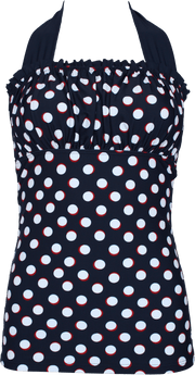 Ruched Square Halter Nautical Blue Red Dots - FINAL SALE - DM Fashion