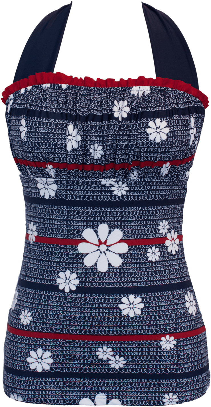 Ruched Square Halter - Nautical White Flower Loops - FINAL SALE - DM Fashion