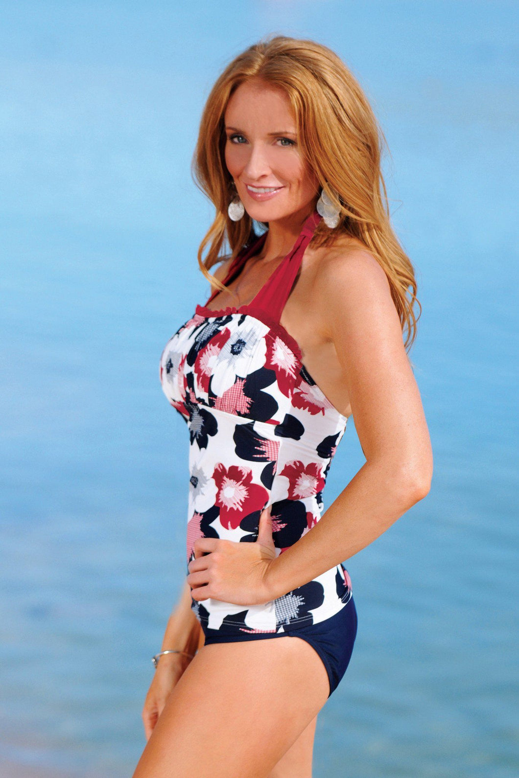 Ruched Square Halter - Nautical Gingham Flower - FINAL SALE - DM Fashion
