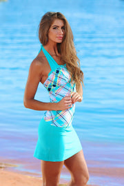 Ruched Square Halter - Tropical Plaid - FINAL SALE - DM Fashion