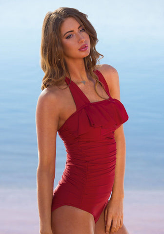 Princess Ruffle Halter - Red - DM Fashion