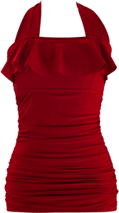 Princess Ruffle Halter - Red - FINAL SALE - DM Fashion