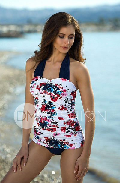 Shirred Halter - Abstract Floral RESTOCKED - DM Fashion
