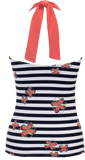 Shirred Halter - Nautical Blue Stripe Flower