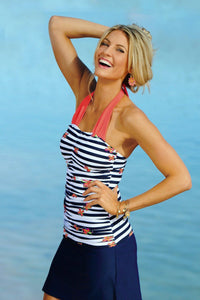 Shirred Halter - Nautical Blue Stripe Flower - FINAL SALE - DM Fashion