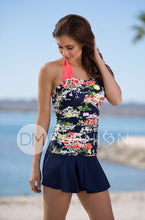 Shirred Halter - Navy Floral RESTOCKED - DM Fashion