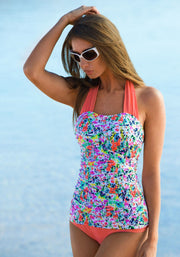 Shirred Halter - Sunrise Coral Garden Flowers - FINAL SALE - DM Fashion