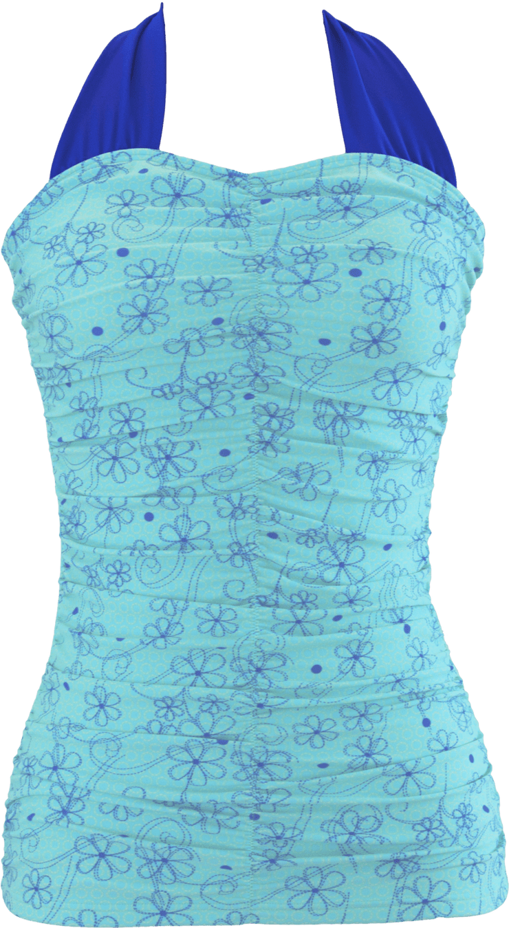 Shirred Halter - Aqua Retro Flowers - FINAL SALE - DM Fashion