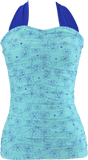 Shirred Halter - Aqua Retro Flowers