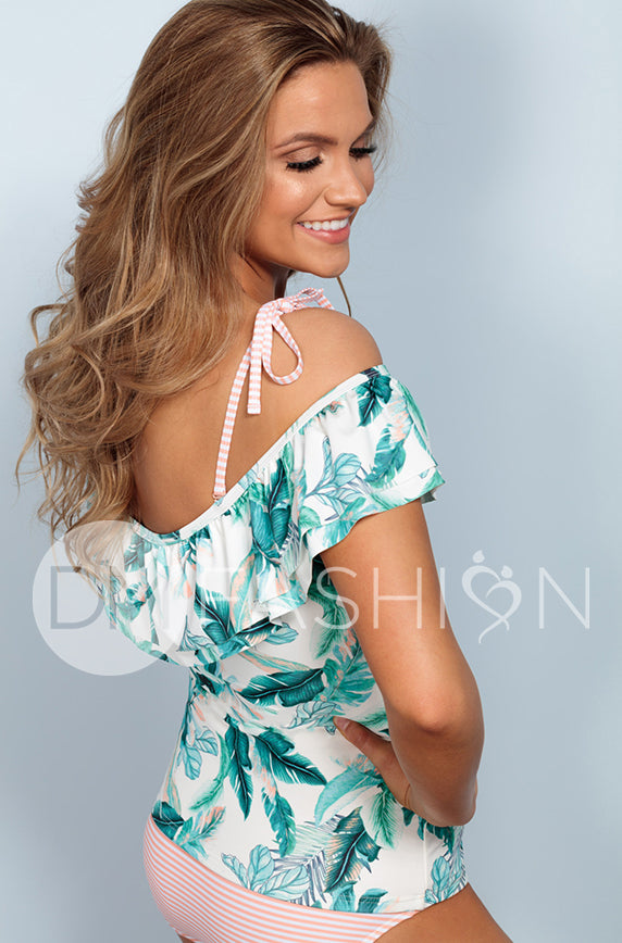 Off The Shoulder Double Ruffle Tankini - Hawaii Palm Stripe