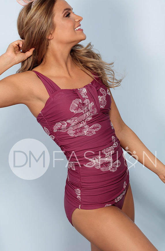 Ruched Bandeau Tankini Top - Red Plum Embroidery Floral - FINAL SALE