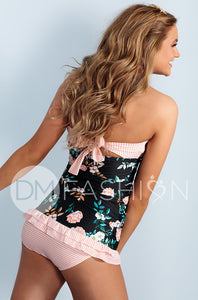 Open Back Ruched Halter Top - Black Retro Floral