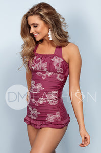 Open Back Ruched Halter Top - Red Plum Embroidery Floral - FINAL SALE