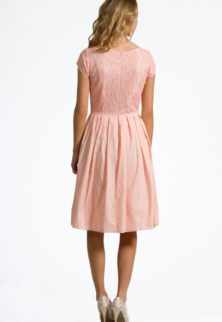 Alyssa Lace Box Pleat Dress in Soft Peach - FINAL SALE - DM Fashion