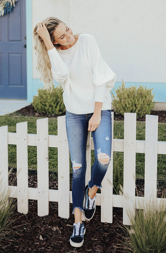 Down To Earth Ivory Knit Sweater