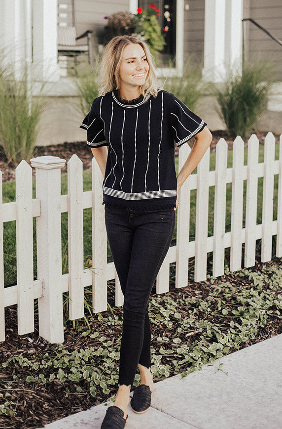 Lennox Embroidered Knit Top - FINAL SALE - FINAL FEW
