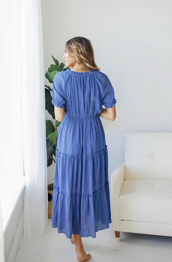 Brianne Steel Blue Tier Tassel Dress - Restocked