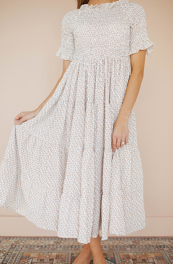 Taylor Cream Floral Midi Dress - Restocked
