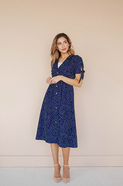 Madison Navy Polka Dot Retro Tie-Cuff Dress - Nursing Friendly