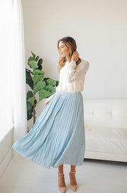 Dreaming Of Spring Light Blue Pleated Skirt