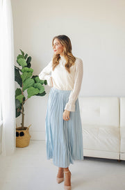 Dreaming Of Spring Light Blue Pleated Skirt - Restocked
