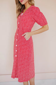 LeeAnn Red Floral Midi Dress - Nursing Friendly - FINAL SALE