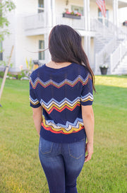 Dixon Navy Short Sleeve Sweater - FINAL SALE