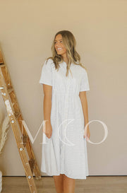 Cosette Cream Pinstripe Dress - MCO - Nursing Friendly